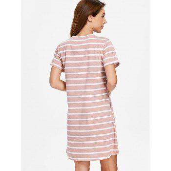 Striped Sleeping Dress - LIGHT PINK L