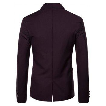 Double Buttons Shawl Collar Blazer - RED WINE M