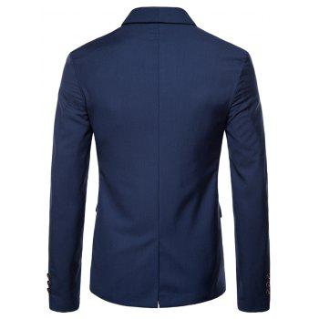 Double Buttons Shawl Collar Blazer - BLUE L