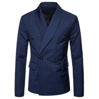 Double Buttons Shawl Collar Blazer - BLUE 4XL