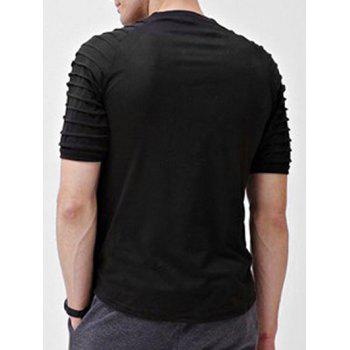 Solid Color Patch Detail Pleated Short Sleeve T-shirt - BLACK XS