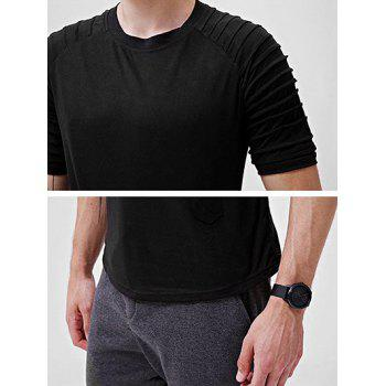 Solid Color Patch Detail Pleated Short Sleeve T-shirt - BLACK L