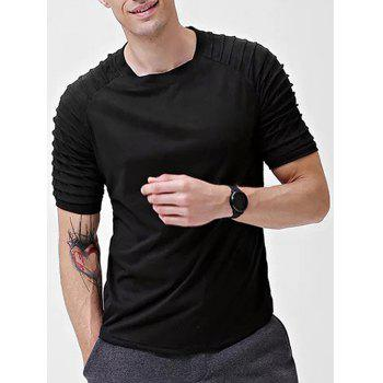 Solid Color Patch Detail Pleated Short Sleeve T-shirt - BLACK XL