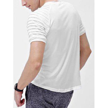 Solid Color Patch Detail Pleated Short Sleeve T-shirt - WHITE XS