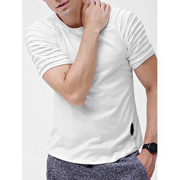 Solid Color Patch Detail Pleated Short Sleeve T-shirt - WHITE S