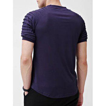 Solid Color Patch Detail Pleated Short Sleeve T-shirt - DEEP BLUE S