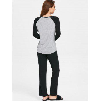 Two Tone Long Sleeves Pocket Pajamas Suit - LIGHT GRAY L