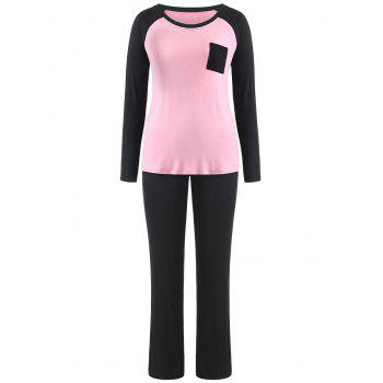 Two Tone Long Sleeves Pocket Pajamas Suit - PINK BUBBLEGUM L