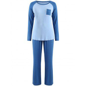 Two Tone Long Sleeves Pocket Pajamas Suit - BLUE GRAY XL