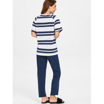 Cat Stripe Raglan Sleeve Pajamas - CADETBLUE L