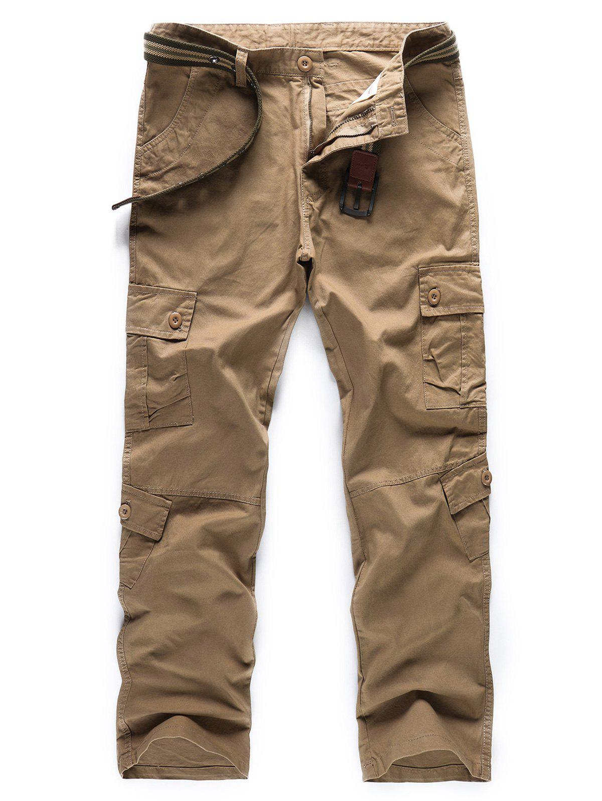 Solid Color Zipper Fly Cargo Pants - LIGHT KHAKI 38