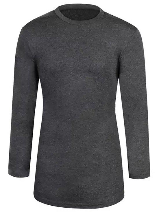 Solid Color Basic Longline T-shirt - DARK GRAY XS