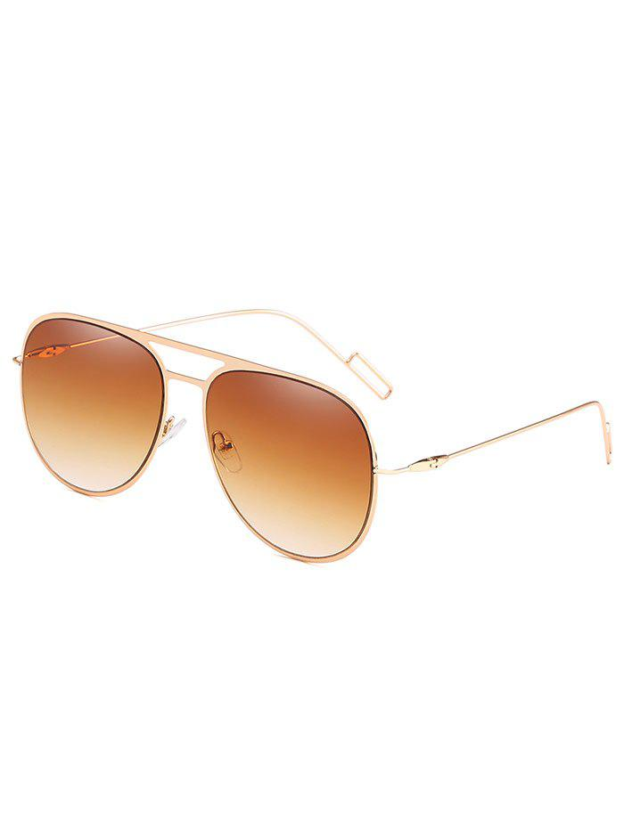 Hollow Out Alloy Frame Pilot Sunglasses - LIGHT BROWN