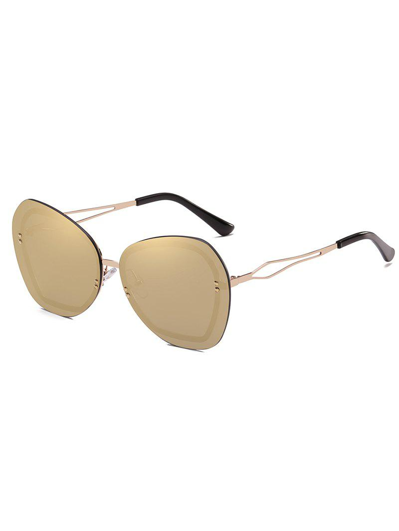 Oversized Rivets Rimless Elegant Sunglasses - CHAMPAGNE GOLD