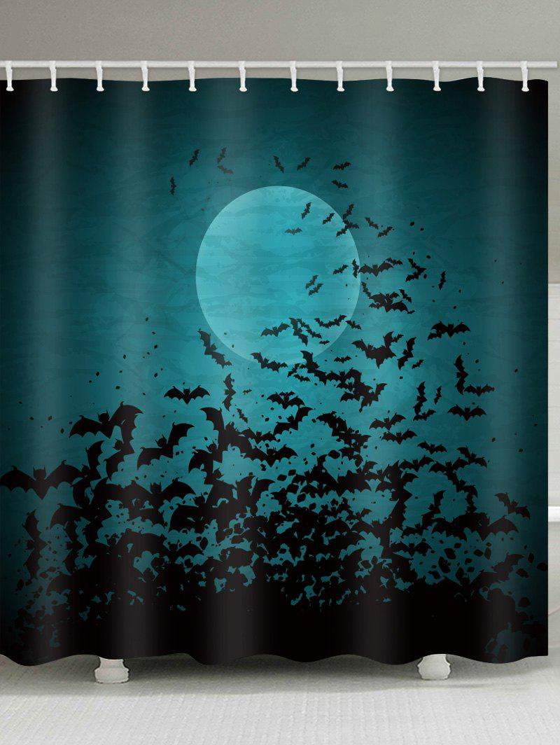 Halloween Bat Shower Curtain - multicolor W71 INCH * L79 INCH