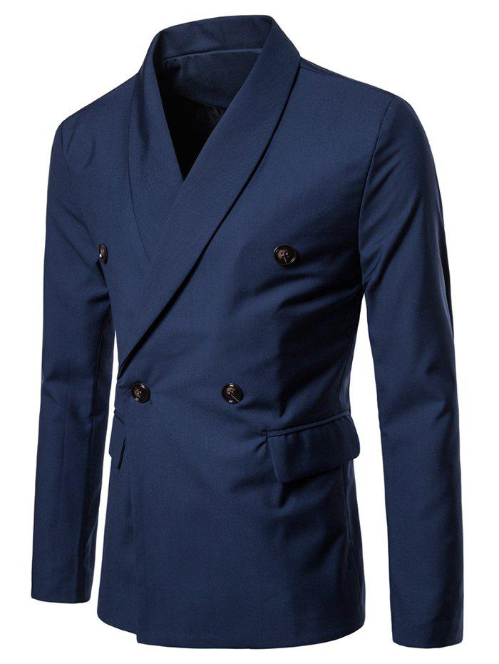 Double Buttons Shawl Collar Blazer - BLUE M
