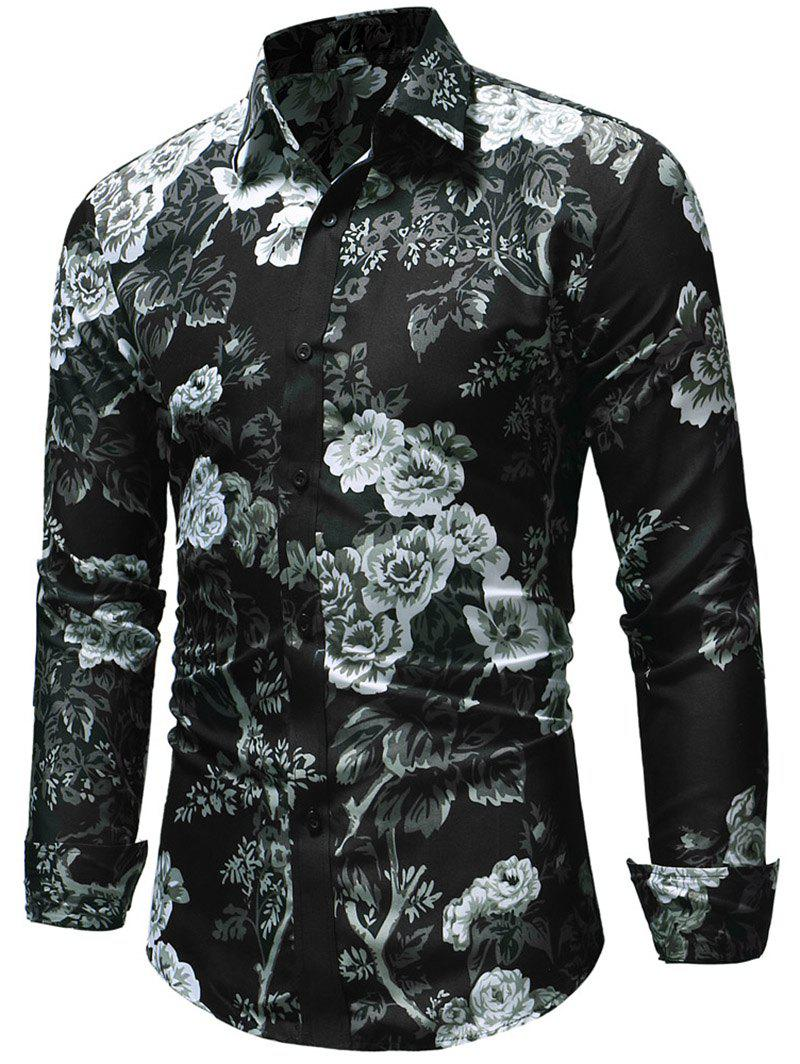 Button Up Allover Flower Print Shirt - multicolor 3XL