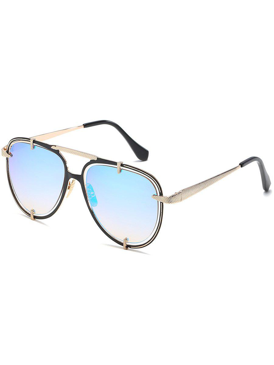 Stylish Hollow Out Frame Crossbar Sunglasses - LIGHT SKY BLUE