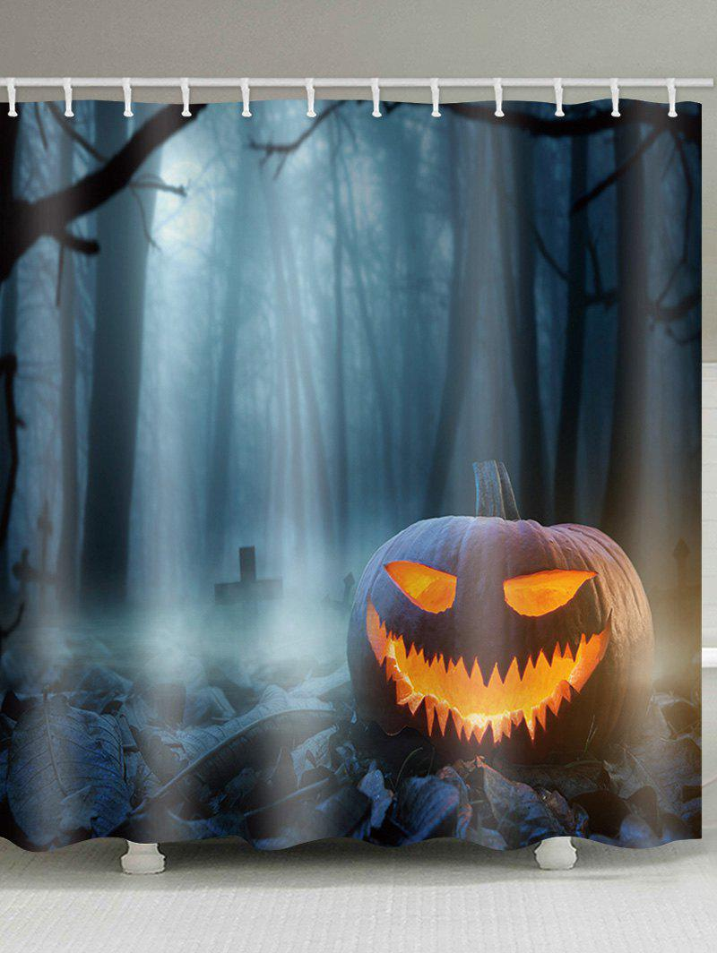 Halloween Terror Forest Pumpkin Lamp Print Shower Curtain - multicolor W59 INCH * L71 INCH