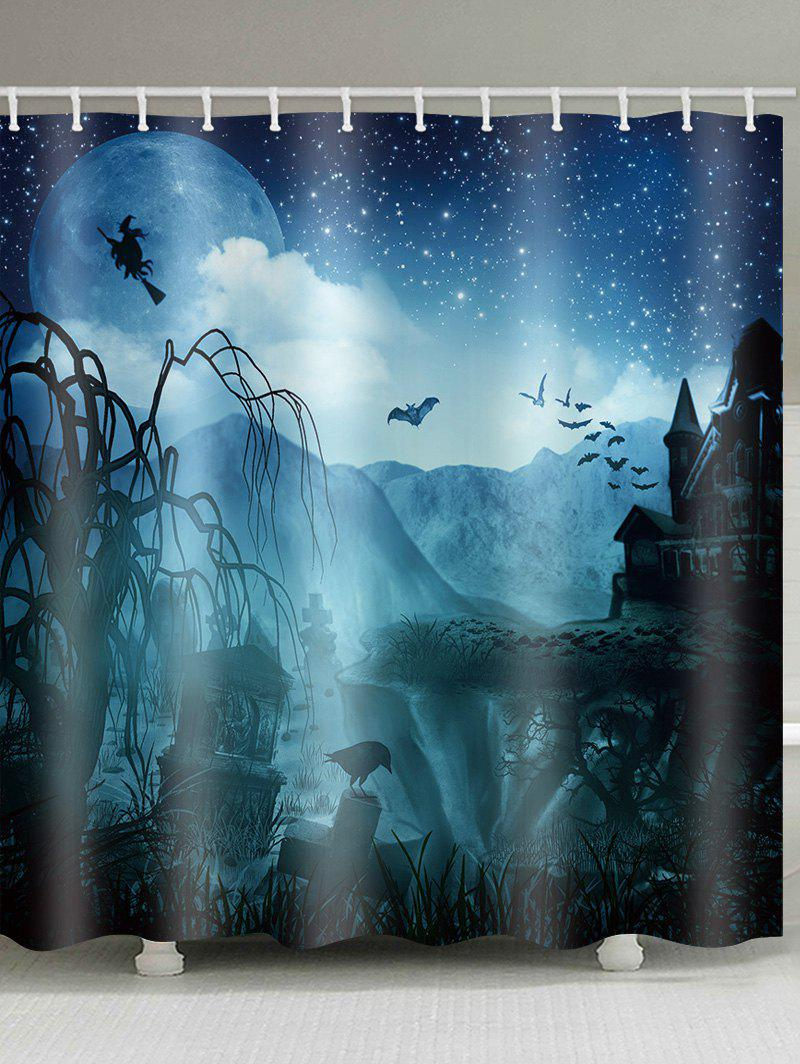Horrific Castle Halloween Night Printed Waterproof Shower Curtain - multicolor W71 INCH * L71 INCH