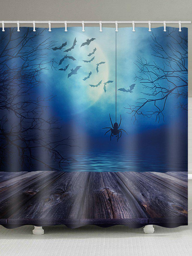 Halloween Lake Moon Night Spider Printed Shower Curtain - multicolor W59 INCH * L71 INCH