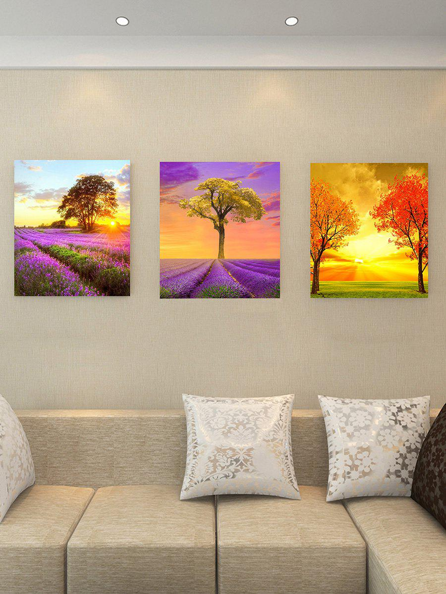 Lavender Flower Tree Sunset Print Split Canvas Prints - multicolor 3PC:12*18 INCH( NO FRAME )
