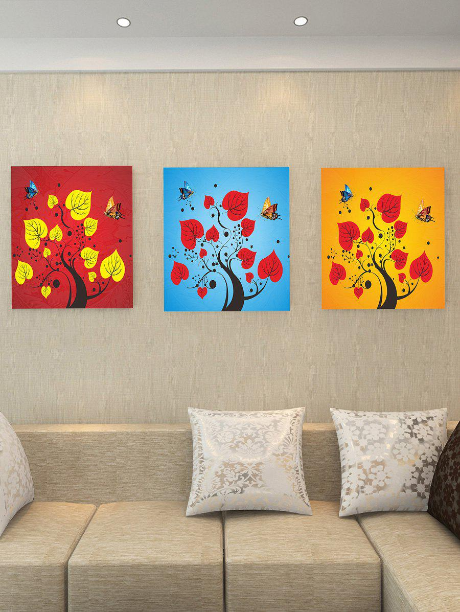Abstract Tree Butterflies Print Unframed Canvas Wall Art - multicolor 3PC:12*12 INCH( NO FRAME )