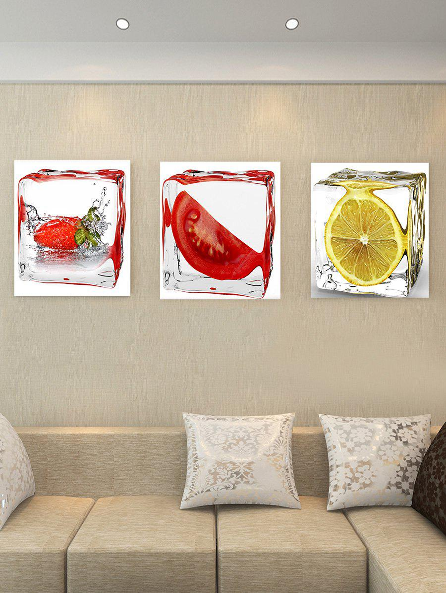 Tomato Strawberry Lemon Print Unframed Canvas Wall Art - multicolor 3PC:12*18 INCH( NO FRAME )
