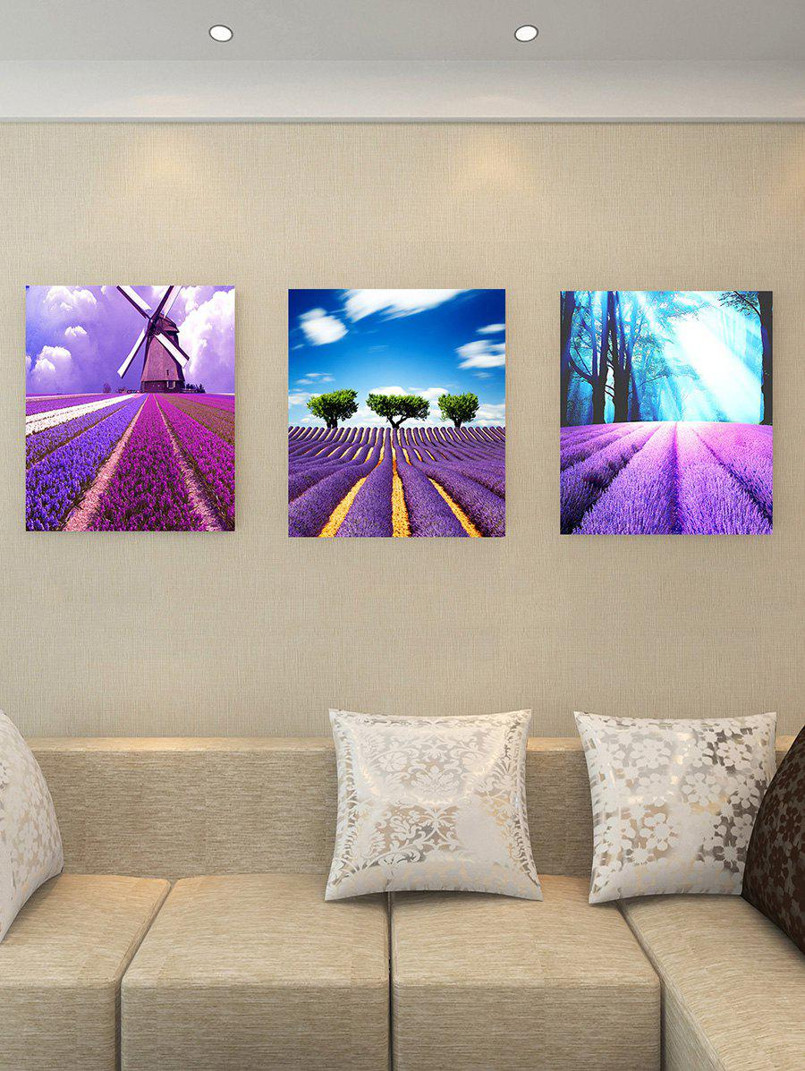Flower Windmill Tree Print Split Canvas Paintings - PURPLE 3PCS:20*29.5 INCH( NO FRAME )