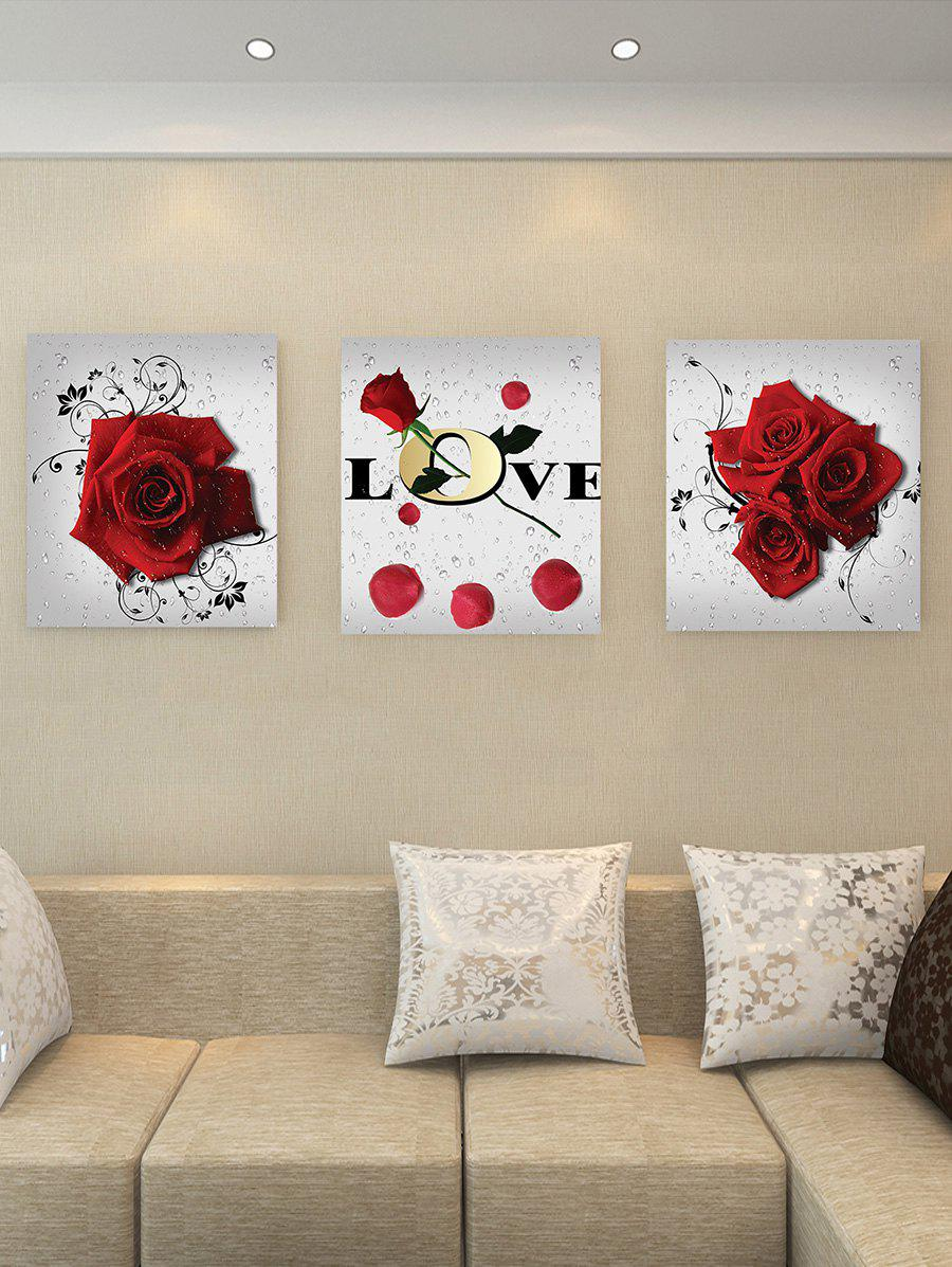 Rose Letter Print Canvas Wall Art - RED WINE 3PCS:20*20 INCH( NO FRAME )