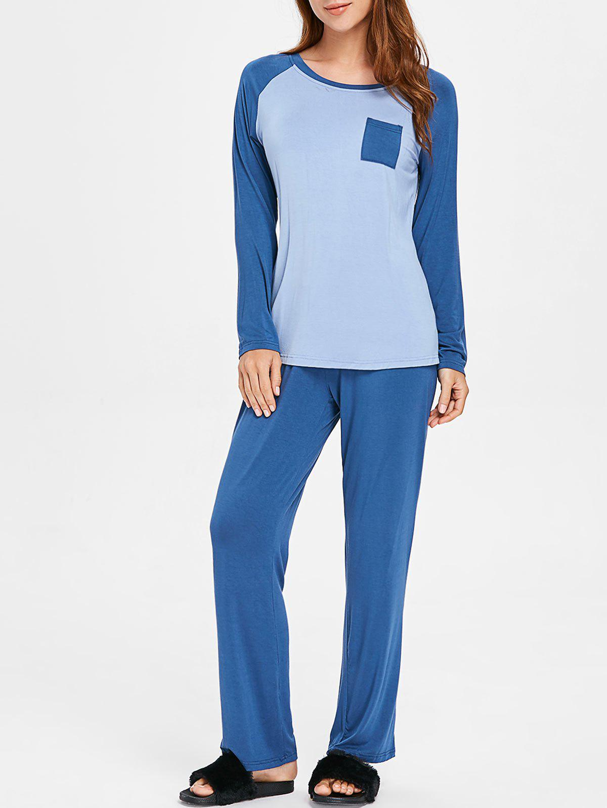 Two Tone Long Sleeves Pocket Pajamas Suit - BLUE GRAY L