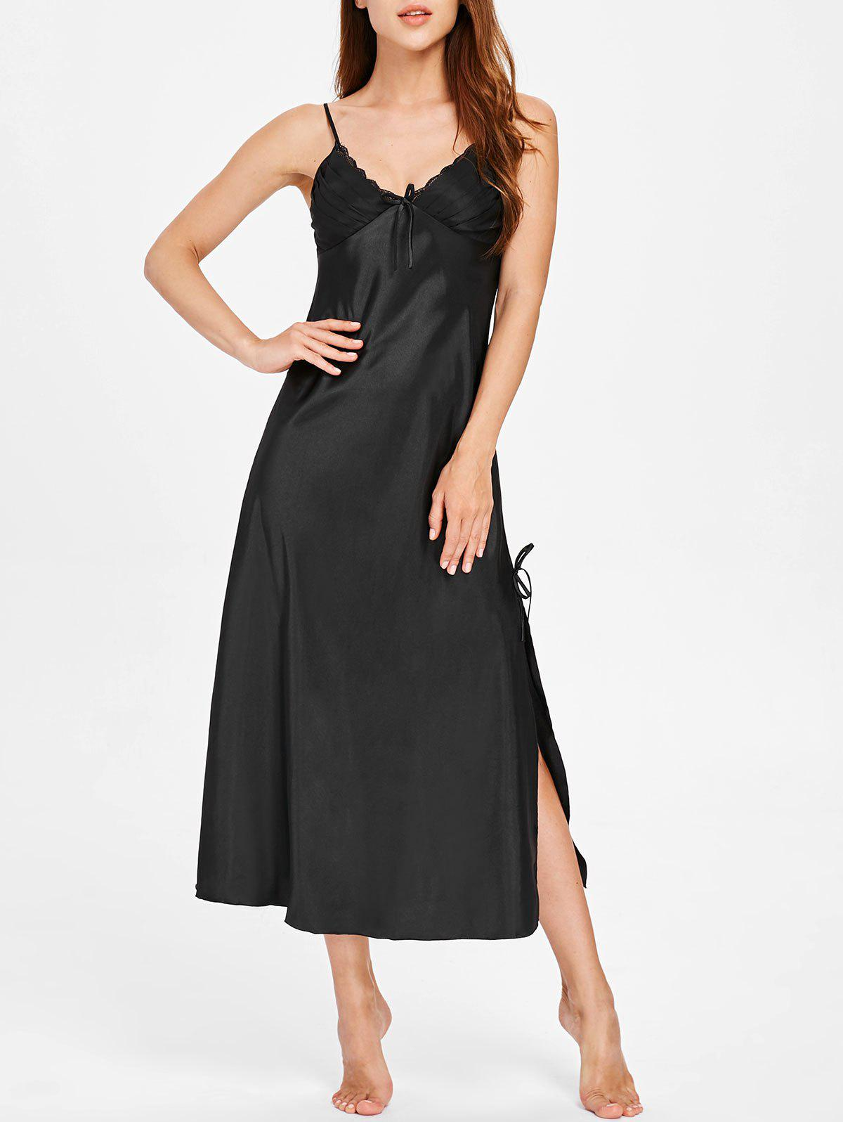 Nightgown Lingerie Slip Dress - BLACK L