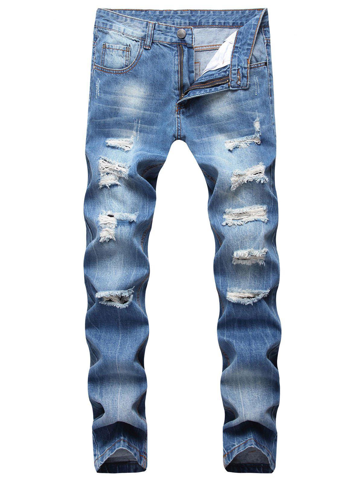 Zipper Fly Ripped Straight Jeans - Bleu Fenêtre 32