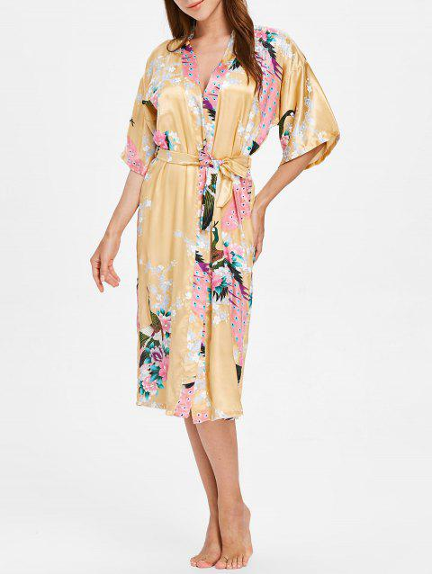 Flower Printing Sleeping Robe with Belt - CORN YELLOW L