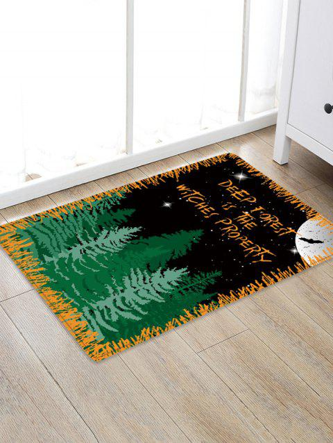 Halloween Night Forest Pattern Water Absorption Area Rug - BLACK W20 INCH * L31.5 INCH