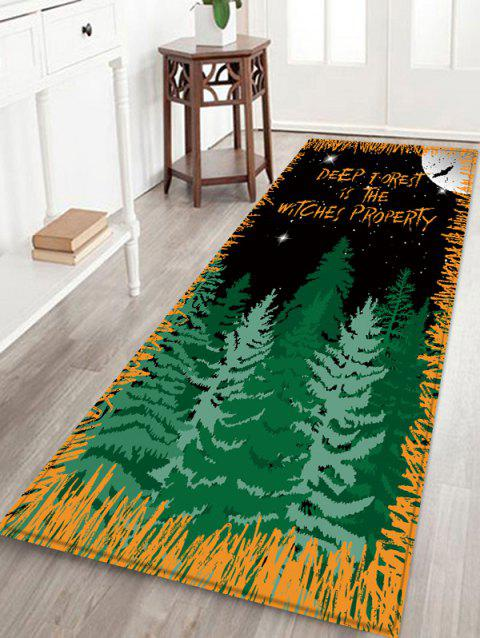 Halloween Night Forest Pattern Water Absorption Area Rug - BLACK W16 INCH * L47 INCH