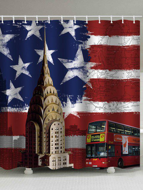 American Flag Bus Print Waterproof Shower Curtain - multicolor W71 INCH * L79 INCH