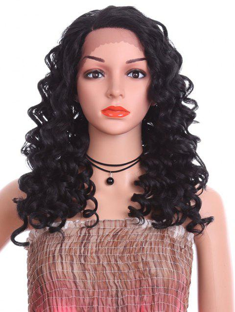 Long Side Parting Loose Deep Wave Synthetic Lace Front Wig - BLACK 20INCH