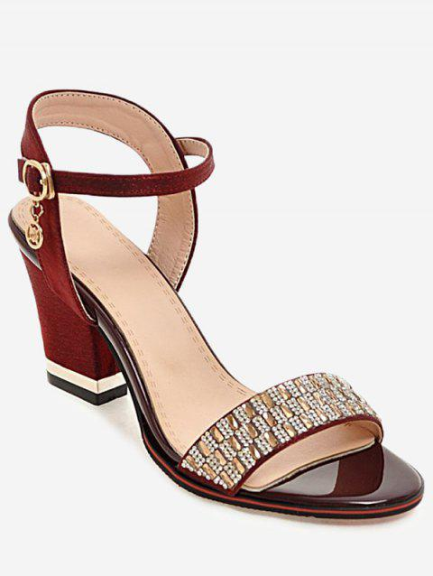 Plus Size Chunky Heel Crystals Prom Sandals - RED WINE 42