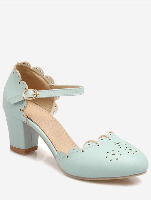 Plus Size Scallop Chunky Heel Ankle Wrap Pumps - CORAL BLUE 38