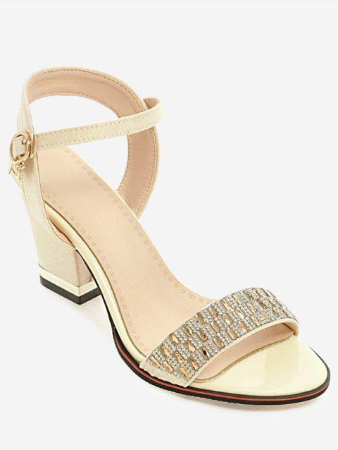 Plus Size Chunky Heel Crystals Prom Sandals - BEIGE 38