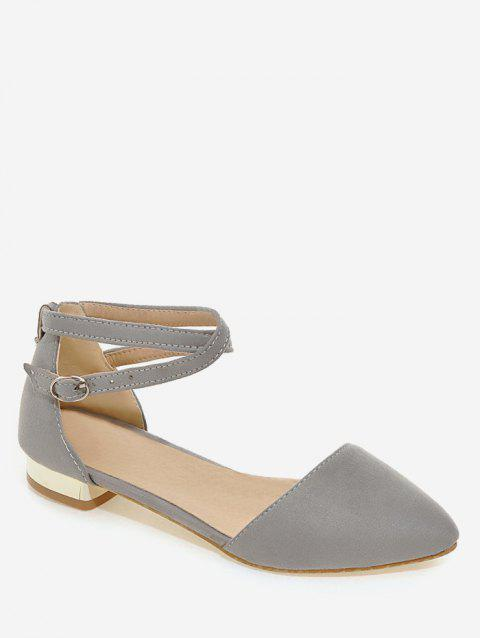 Plus Size Cross Strap Low Heel Pumps - BATTLESHIP GRAY 39