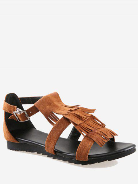 Plus Size Casual Fringes Strappy Sandals - LIGHT BROWN 43