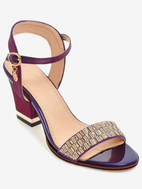 Plus Size Chunky Heel Crystals Prom Sandals - MEDIUM VIOLET RED 43
