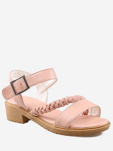 Plus Size Buckled Strap Braid Sweet Sandals - PINK 37