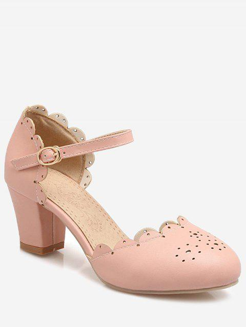 Plus Size Scallop Chunky Heel Ankle Wrap Pumps - PINK 37