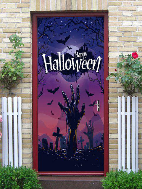 Halloween Cemetery Hand Printed Door Art Stickers - multicolor 38.5*200CM*2PCS