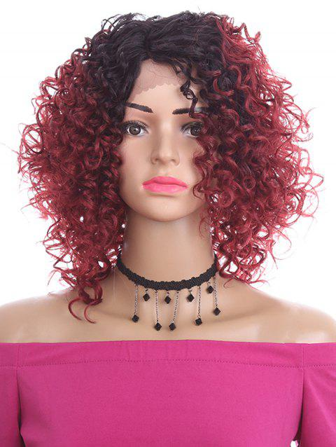 Oblique Bang Short Curly Synthetic Lace Front Wig - RED WINE 14INCH