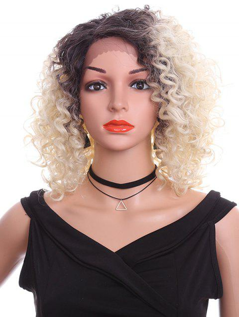 Oblique Bang Short Curly Synthetic Lace Front Wig - WARM WHITE 14INCH
