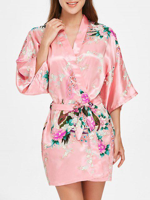 Three Quarter Sleeve Short Floral Robe - LIGHT PINK M
